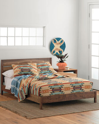 ALTERNATE VIEW OF WYETH TRAIL COVERLET SET IN CAMEL
