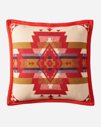 ALTERNATE VIEW OF ROCK POINT PILLOW IN SCARLET