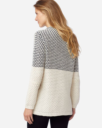 ALTERNATE VIEW OF WOMEN'S TEXTURED FUNNEL NECK PULLOVER IN MIDNIGHT NVY/ANTIQUE WH
