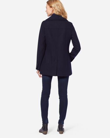 ADDITIONAL VIEW OF WOMEN'S WOOL PEA COAT IN NAVY