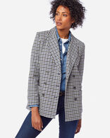 WOMEN'S AIRLOOM MERINO PRESTON BLAZER IN BLUE HORIZON/BLCK/IVORY
