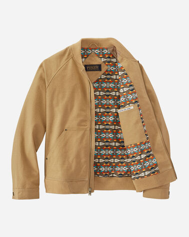 ALTERNATE VIEW OF MEN'S PINEHURST CANVAS BOMBER JACKET IN CHAMOIS