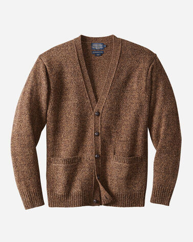 MEN'S SHETLAND WASHABLE WOOL CARDIGAN IN BEAVER MARL