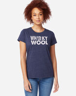 WOMEN'S WHISKEY AND WOOL GRAPHIC TEE, NAVY HEATHER, large