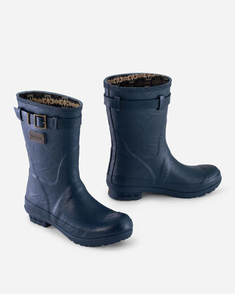 HERITAGE EMBOSSED SHORT BOOTS IN NAVY