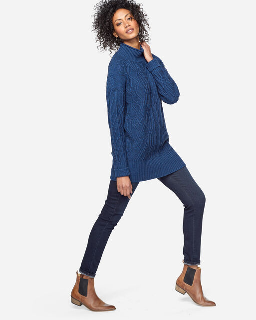 FUNNEL NECK CABLE PULLOVER, BLUE WING, large