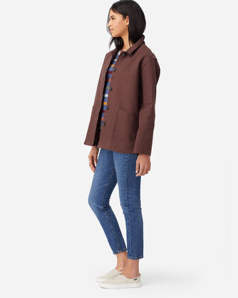 ALTERNATE VIEW OF WOMENS CANVAS CHORE JACKET IN RUSTIC PLUM