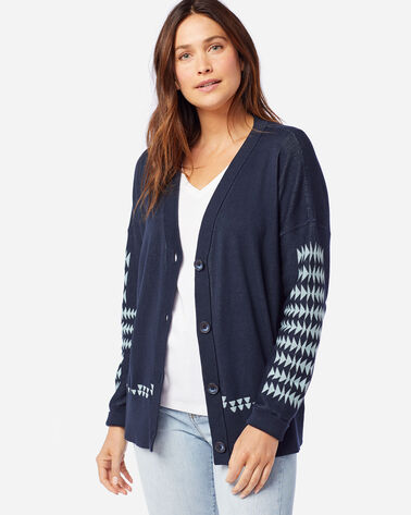 ALTERNATE VIEW OF WOMEN'S MEDALLION CARDIGAN IN MIDNIGHT NAVY/AQUA