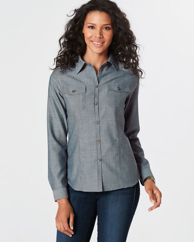LISA TWO-POCKET WOOL SHIRT, BLUE, large