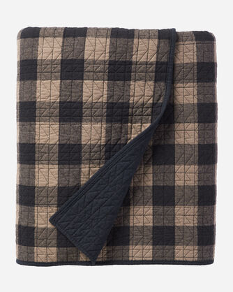 BUFFALO TRAIL PLAID COVERLET SET IN BLACK/TAUPE