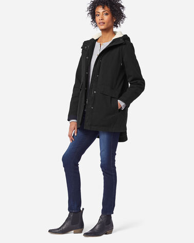 WOMEN'S FLORENCE A-LINE HOODED COAT IN BLACK