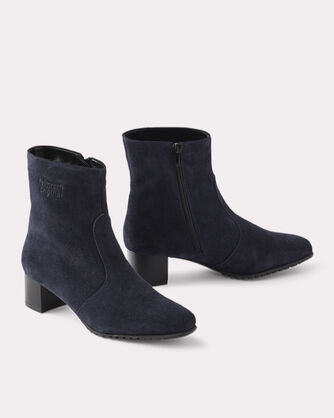 SUEDE ANKLE-ZIP BOOTS, BLUE, large