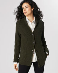 RIBBED LAMBSWOOL CARDIGAN, EVERGREEN HEATHER, large