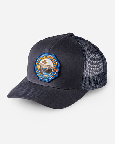NATIONAL PARK TRUCKER HAT IN NAVY CRATER LAKE