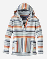 WOMEN'S SURF STRIPE HOODED PULLOVER, BLUE/RUST, large