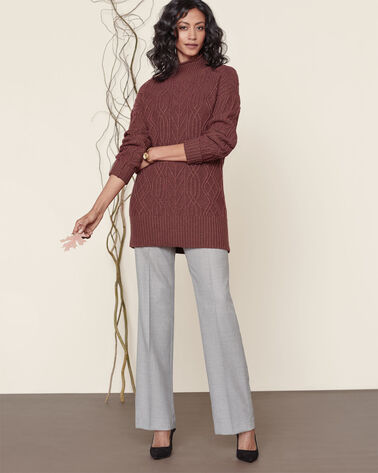 FUNNEL NECK CABLE PULLOVER, RUM RAISIN, large