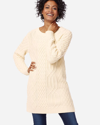 WOMEN'S CABLE SWEATER IN IVORY