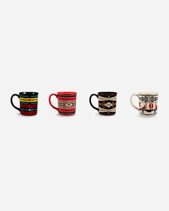 AMERICAN INDIAN COLLEGE FUND MUGS, SET OF 4 IN MULTI SHOWN OUT OF  BOX