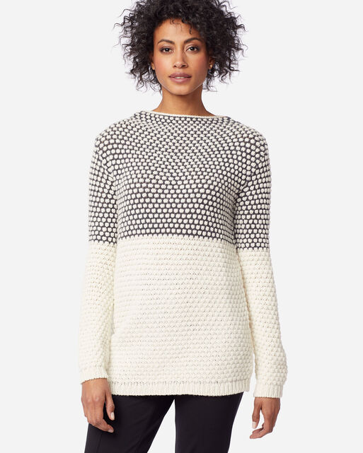 WOMEN'S TEXTURED FUNNEL NECK PULLOVER IN CHARCOAL/IVORY