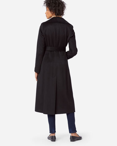 WOMEN'S LONG SHAWL-COLLAR COAT, BLACK, large