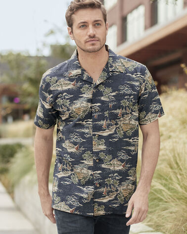 MEN'S SHORT-SLEEVE ALOHA SHIRT IN IVORY HIBISCUS PRINT