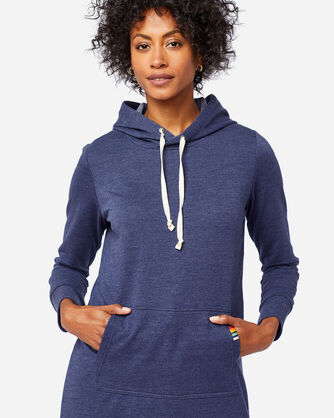 ALTERNATE VIEW OF HOODED LOUNGE DRESS IN NAVY HEATHER