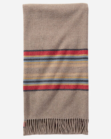 STRIPE 5TH AVENUE MERINO THROW IN MINERAL UMBER