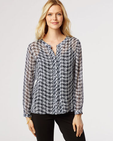 PAULINA HOUNDSTOOTH PRINT BLOUSE, BLACK/LIGHT GREY, large