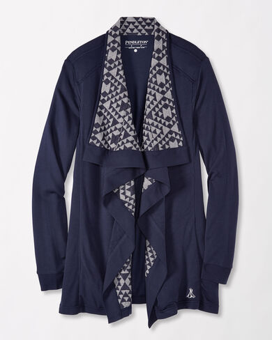 OPEN-FRONT CARDIGAN, NAVY, large
