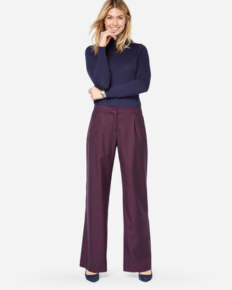 HOLLYWOOD WOOL PANTS, NAVY/MAROON CHECK, large