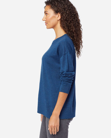 ALTERNATE VIEW OF WOMEN'S TIMELESS MERINO CREW SWEATER IN MOROCCAN BLUE