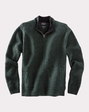 SHETLAND FULL-ZIP CARDIGAN, JUNIPER GREEN, large