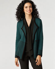 HIGH LINE CARDIGAN, SOFT TEAL/BLACK, large