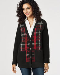 PLAID MERINO CARDIGAN, RED MULTI, large