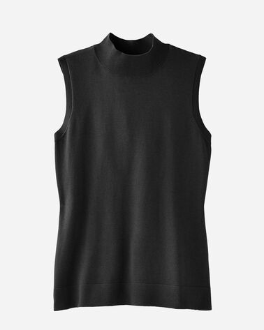 SLEEVELESS MOCKNECK PULLOVER, BLACK, large