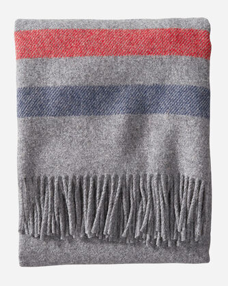 ALTERNATE VIEW OF ECO-WISE WOOL FRINGED THROW IN GREY STRIPE