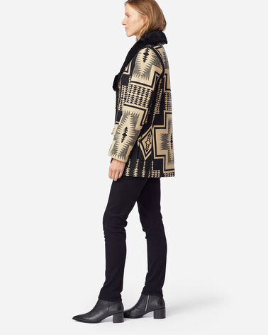 ALTERNATE VIEW OF WOMEN'S WAHKEENA SHEARLING BLANKET COAT IN BLACK/TAN HARDING