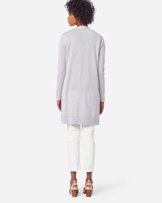 ALTERNATE VIEW OF WOMEN'S TIMELESS MERINO LONG CARDIGAN IN LIGHT GREY HEATHER