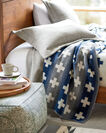 ADDITIONAL VIEW OF MERIDIAN CROSSING BLANKET IN WHITE/GREY/NAVY