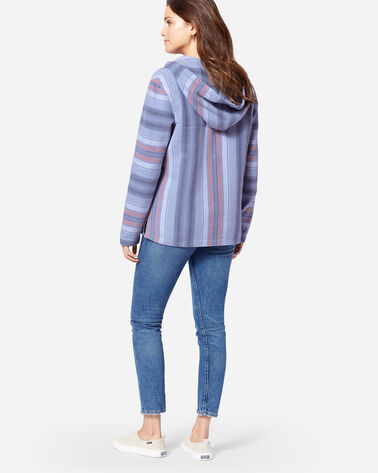 WOMEN'S SURF STRIPE HOODED PULLOVER, BLUE/CORAL, large