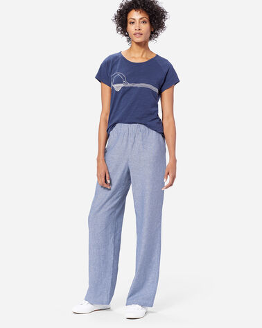 ADDITIONAL VIEW OF WOMEN'S PULL-ON STRIPE LINEN PANTS IN BLUE/WHITE