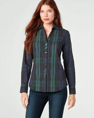 MARY CRINKLE PLAID SHIRT, BLACKWATCH, large