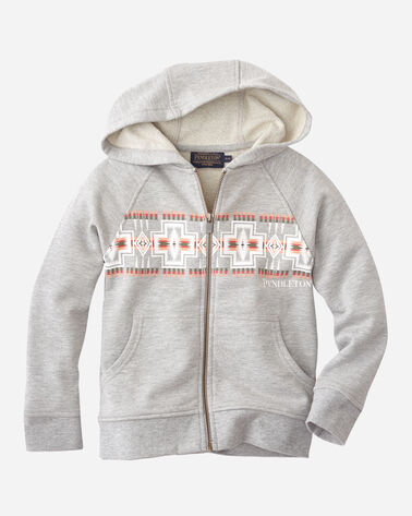 KIDS' FRONT PRINT ZIP HOODIE, GREY HEATHER, large