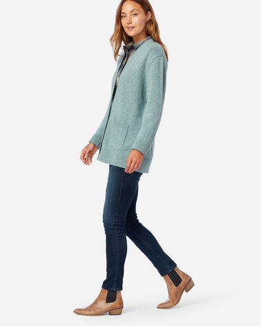 ALTERNATE VIEW OF WOMEN'S BOYFRIEND SHETLAND WOOL CARDIGAN IN SEA GLASS BLUE HEATHER