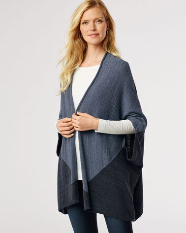 COLORBLOCK PONCHO, BLUE HEATHER MULTI, large
