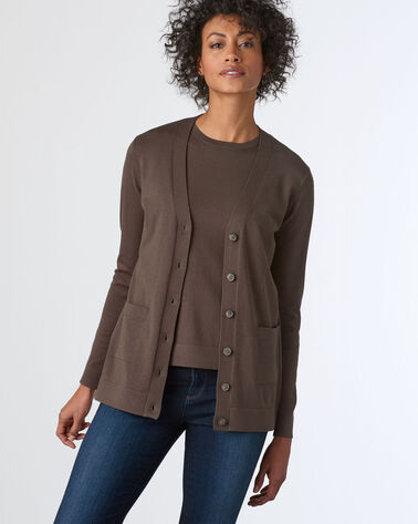 ADDITIONAL VIEW OF WOMEN'S COLBY V-NECK CARDIGAN IN COFFEE
