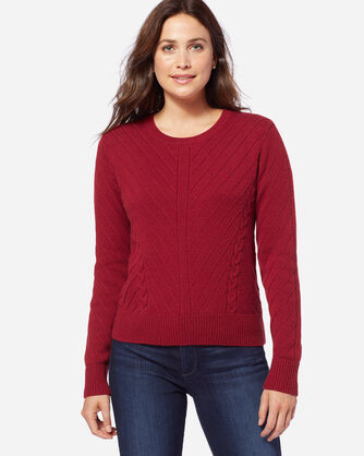 CROPPED TEXTURED CREWNECK SWEATER, RED ROCK, large