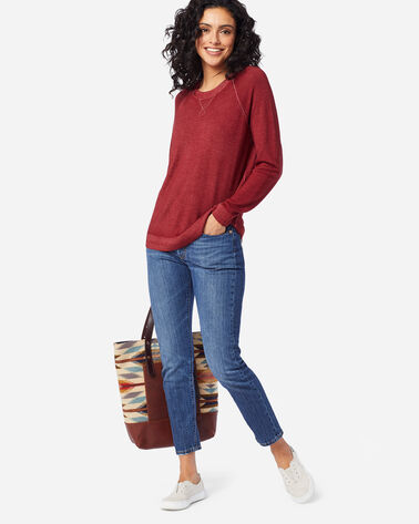 WOMEN'S MAGIC-WASH MERINO CREWNECK IN RED ROCK