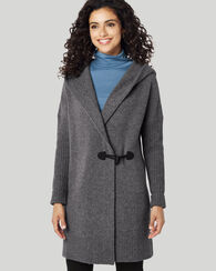 HOODED SWEATER COAT, GREY HEATHER, large