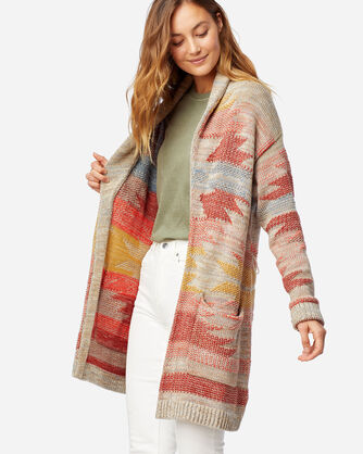 ALTERNATE VIEW OF WOMEN'S MONTEREY BELTED COTTON CARDIGAN IN TAUPE MULTI